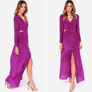 Line & Dot purple silk maxi dress L